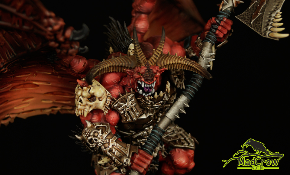 mad crow studio warhammer wargaming games workshop warhammer40k mini painting commission painting commission scalemodels brush for hire gw minimodels magnetized pro propainted goodminimal good job pro art warhammer40000 citadel vallejo wh40k painting 40000 demons chaos khorne bloodthirster